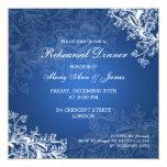 "Wedding Rehearsal Dinner Vintage Swirls Blue 5.25"" Square Invitation Card"