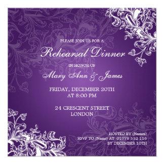 Wedding Rehearsal Dinner Vintage Swirls Purple Invite