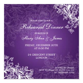 "Wedding Rehearsal Dinner Vintage Swirls Purple 5.25"" Square Invitation Card"