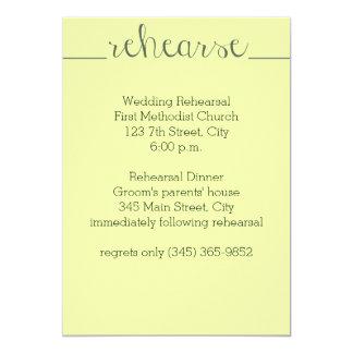 Wedding Rehearsal Invitation- yellow Card