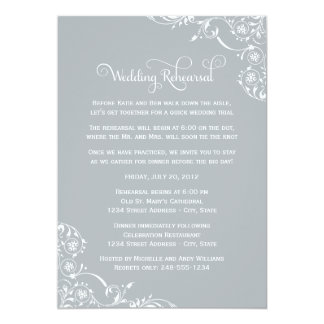 "Wedding Rehearsal   Light Gray Scroll 5"" X 7"" Invitation Card"