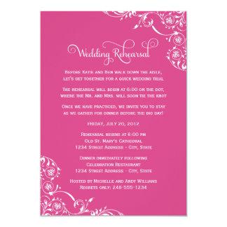 "Wedding Rehearsal   Magenta Pink Scroll 5"" X 7"" Invitation Card"