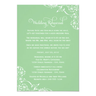 "Wedding Rehearsal   Mint Green Scroll 5"" X 7"" Invitation Card"