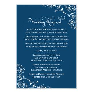 """Wedding Rehearsal   Navy Blue Scroll 5"""" X 7"""" Invitation Card"""