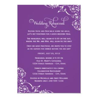 "Wedding Rehearsal   Purple Scroll 5"" X 7"" Invitation Card"