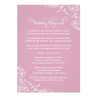 "Wedding Rehearsal   Rose Pink Scroll 5"" X 7"" Invitation Card"