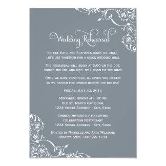 "Wedding Rehearsal | Slate Gray Scroll 5"" X 7"" Invitation Card"