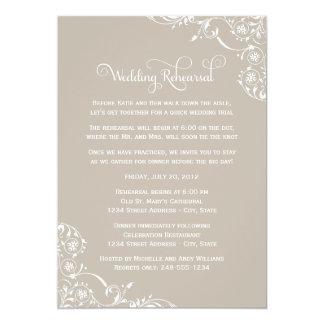"Wedding Rehearsal   Taupe Gray Scroll 5"" X 7"" Invitation Card"