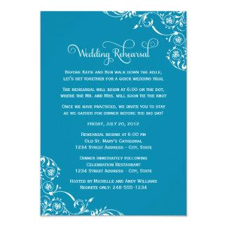 """Wedding Rehearsal   Teal Blue Scroll 5"""" X 7"""" Invitation Card"""