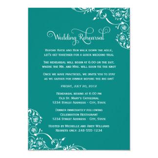 "Wedding Rehearsal   Teal Green Scroll 5"" X 7"" Invitation Card"