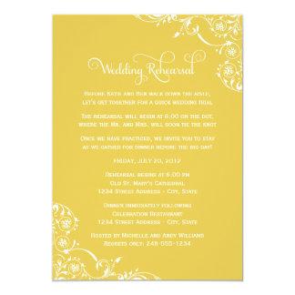 "Wedding Rehearsal   Yellow Scroll 5"" X 7"" Invitation Card"