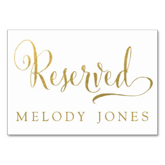 Wedding Reserved Place Cards Gold Personalized Table Cards