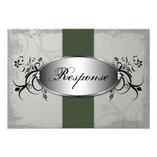 Wedding Response RSVP Card Olive Green Slate Gray Personalized Announcement