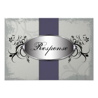 Wedding Response RSVP Card - Purple Slate Gray Personalized Invites