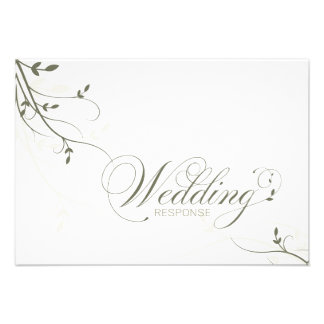 Wedding Response RSVP Card Simple Elegance Leafy