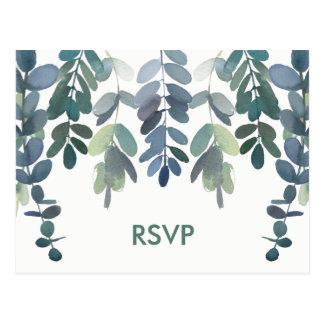 Wedding Response Rustic Eucalyptus Greenery RSVP Postcard