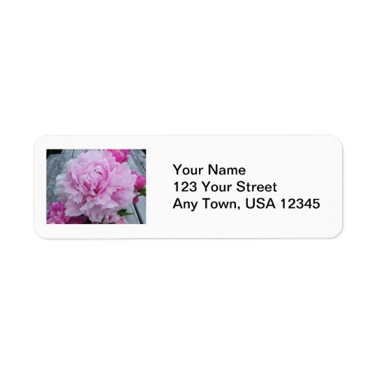 Wedding Return Address Lables Pink Peonies Flowers