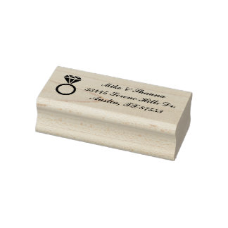 Wedding Ring Custom Address Rubber Stamp
