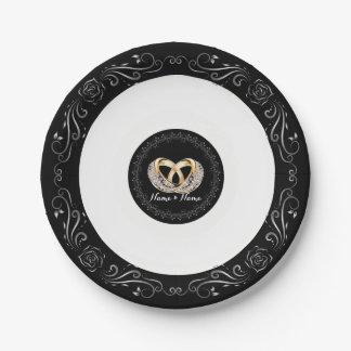 "Wedding Ring Custom Name 7"" Paper Plates"