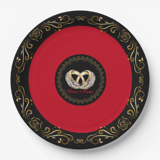 "Wedding Ring Custom Name 9"" Paper Plates"