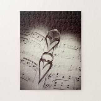 Wedding Ring Hearts Music Jigsaw Puzzle