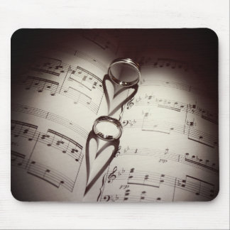 Wedding Ring Hearts Music Mouse Pad