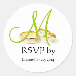 Wedding Ring Monogram RSVP Stickers Green