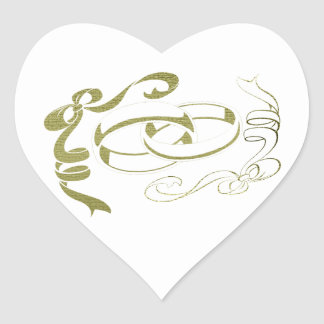 Wedding Rings and Bows Art Heart Sticker