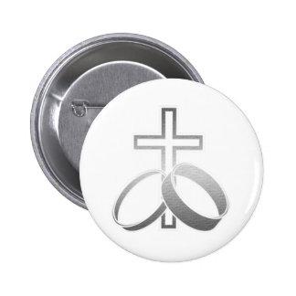 Wedding Rings and Cross Art Pins