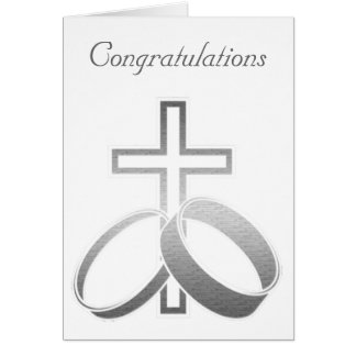 Wedding Rings and Cross Art Greeting Card