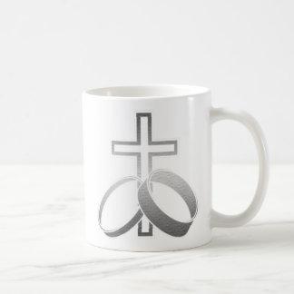 Wedding Rings and Cross Art Mug