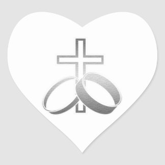 Wedding Rings and Cross Art Heart Stickers