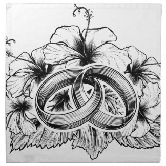 Wedding Rings and Hibiscus Flowers Napkin