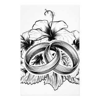 Wedding Rings and Hibiscus Flowers Stationery Paper