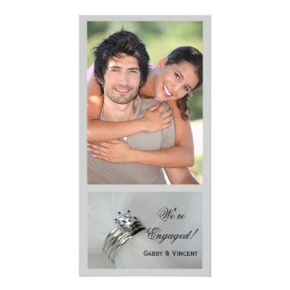 Wedding Rings Engagement Announcement Picture Card
