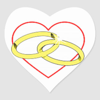 Wedding Rings Envelope Seal Heart Sticker