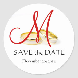 Wedding Rings Monogram Save the Date Stickers Red