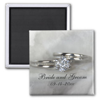 Wedding Rings on Gray Square Magnet