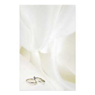 Wedding Rings on Satin Background Stationery