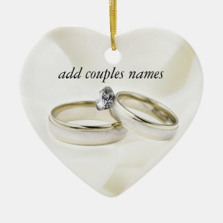 Wedding Rings on Satin Ceramic Heart Ornament