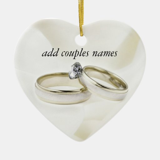 Wedding rings on satin zazzle for Engagement christmas tree ornaments