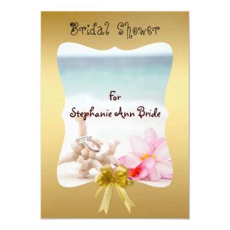 "Wedding Rings On The Beach Bridal Shower Card 5"" X 7"" Invitation Card"