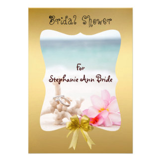 Wedding Rings On The Beach Bridal Shower Card