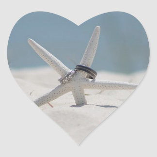 Wedding Rings Starfish Beach Wedding Heart Sticker