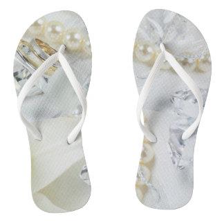 Wedding Rings w/Pearls Flip Flops