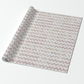 Wedding Rose Gold Opal Glitter Print White Chevron Wrapping Paper