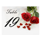 wedding rose table number postcard
