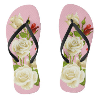 Wedding Roses  Adult, Slim Straps Flip flops