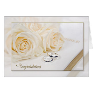 Wedding roses and rings reflection greeting card