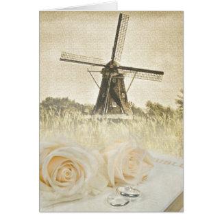 Wedding roses with Dutch windmill Card